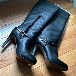 Isola black leather boots